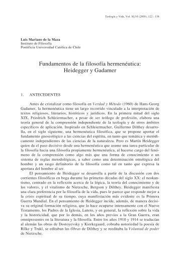Fundamentos de la filosofía hermenéutica: Heidegger y ... - SciELO