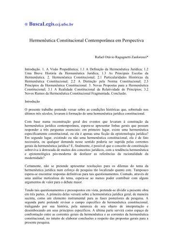 Hermenêutica Constitucional Contemporânea em ... - eGov UFSC