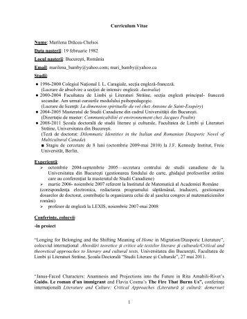 1 Curriculum Vitae Nume: Marilena Drăcea-Chelsoi Data naşterii ...