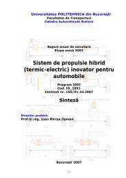 Sinteza Raport 2007.pdf - Sistem de Propulsie Hibrid (Termic-Electric)