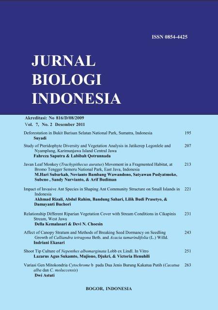 jurnal biologi indonesia - Research Center for Biology - LIPI