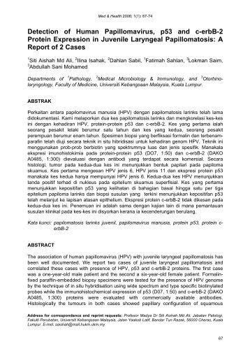 Detection of Human Papillomavirus, p53 and c-erbB-2 Protein ...