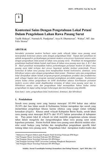 Kontestasi Sains Dengan Pengetahuan Lokal Petani Dalam ...