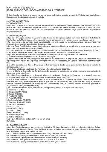 portaria g. cel 13/2012 regulamento dos jogos abertos da juventude
