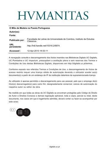 O Mito de Medeia na Poesia Portuguesa Autor(es) - Universidade ...