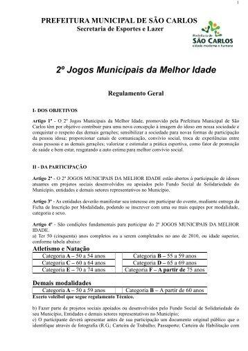 Regulamento Jogos Municipais da Melhor Idade 2010 - Prefeitura ...