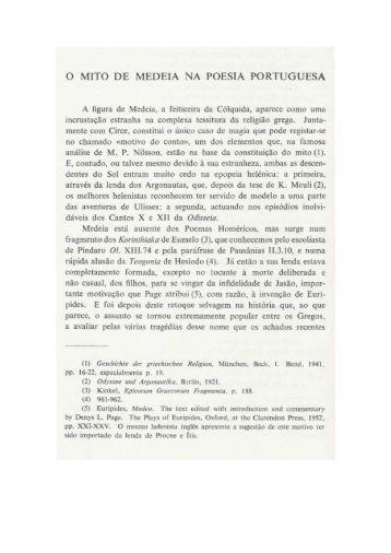 o mito de medeia na poesia portuguesa - Universidade de Coimbra