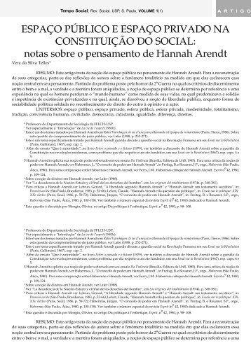 Espaço público e espaço privado na constituição do - fflch - USP