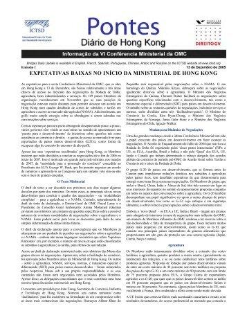 expetativas baixas no início da ministerial de hong ... - Le Hub Rural