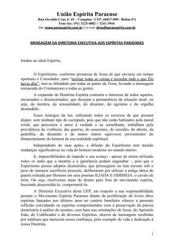 Mensagem da DIREX para o MOVESP - União Espírita Paraense
