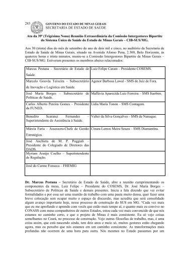 Trigésima Nona - Secretaria de Estado de Saúde de Minas Gerais ...