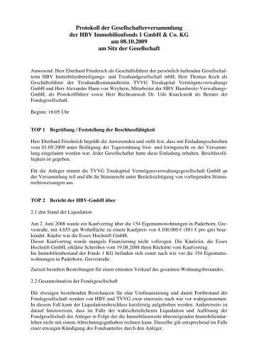 Protokoll der Gesellschafterversammlung der ... - Treukapital GmbH
