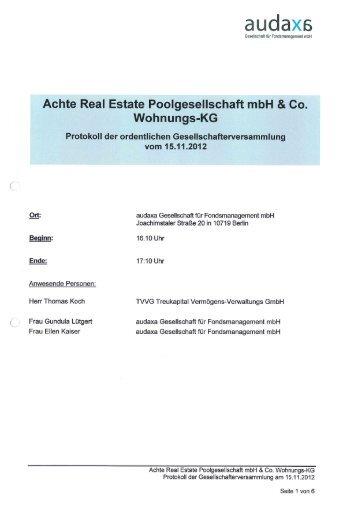 protokoll der gesellschafterversammlung der hbv immobilienfonds, Einladung