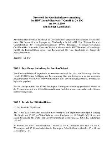 protokoll der gesellschafterversammlung der hbv immobilienfonds, Einladungen