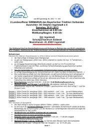 Ausschreibung - Bayerischer Triathlon Verband