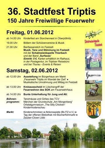 36. Stadtfest Triptis 150 Jahre Freiwillige Feuerwehr Samstag, 02.06 ...