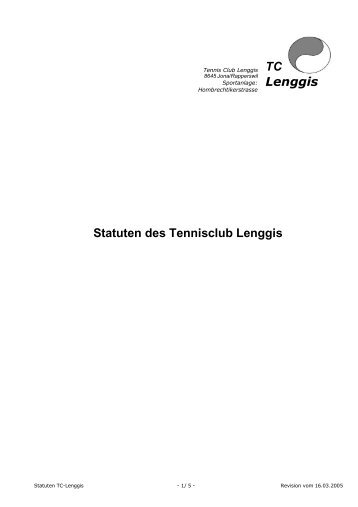 Statuten des Tennisclub Lenggis TC Lenggis