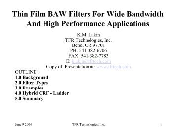 Thin Film BAW Filters For Wide Bandwidth And High Performance ...
