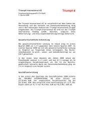 Zwischenmitteilung 3. Quartal 2008 - Triumph International