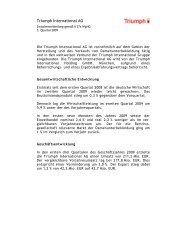 Zwischenmitteilung 3. Quartal 2009 - Triumph International