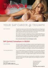 SAP (Junior) Consultant in SD/EDI - Triumph International