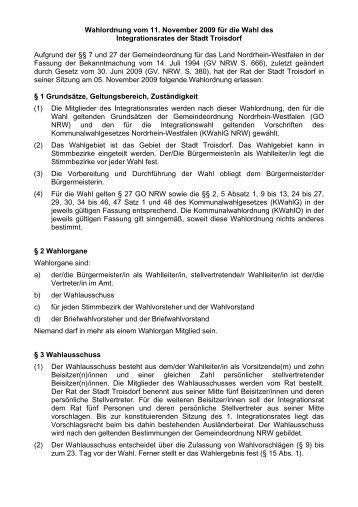 Wahlordnung für die Wahl des Integrationsrates der ... - Stadt Troisdorf