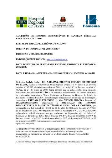 AQUISIÇÃO DE INSUMOS DESCARTÁVEIS P/ BANDEIJA ...