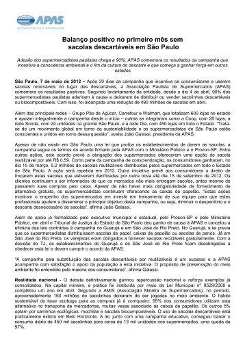Maio 2012 - Balanço positivo no primeiro mês sem sacolas ... - Apas