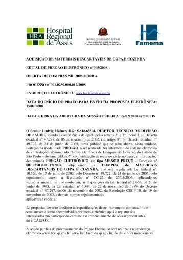 AQUISIÇÃO DE MATERIAIS DESCARTÁVEIS DE COPA E ...