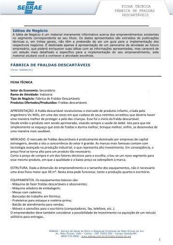 FICHA TÉCNICA FÁBRICA DE FRALDAS DESCARTÁVEIS - Sebrae