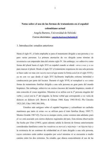 Notas sobre el uso de las formas de tratamiento en el español ...