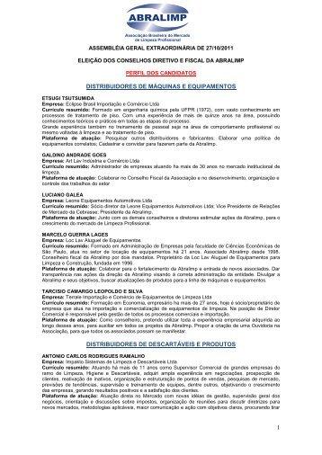 1 DISTRIBUIDORES DE MÁQUINAS E EQUIPAMENTOS ... - Abralimp