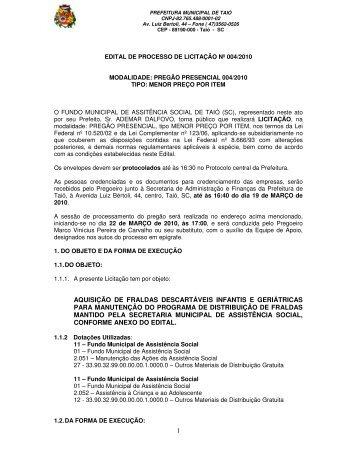 1 AQUISIÇÃO DE FRALDAS DESCARTÁVEIS INFANTIS E ... - Taió