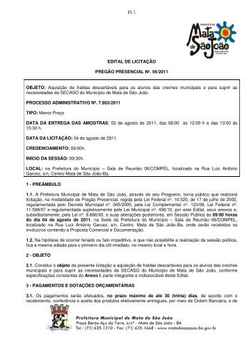EDITAL DE LICITAÇÃO PREGÃO PRESENCIAL Nº. 56/2011 ...