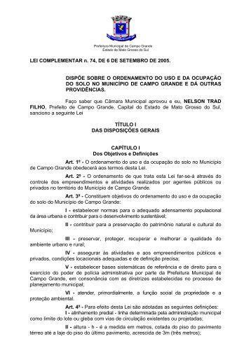 LEI COMPLEMENTAR n. 74, DE 6 DE SETEMBRO DE 2005 ...