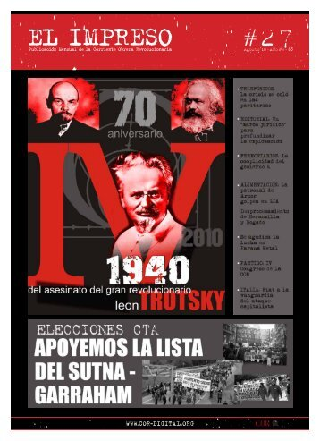 Publicación Mensual de la Corriente Obrera Revolucionaria Agosto'10