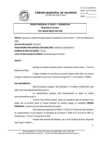 EDITAL PREGÃO DESCARTÁVEIS E HIGIENE PESSOAL - Câmara ...