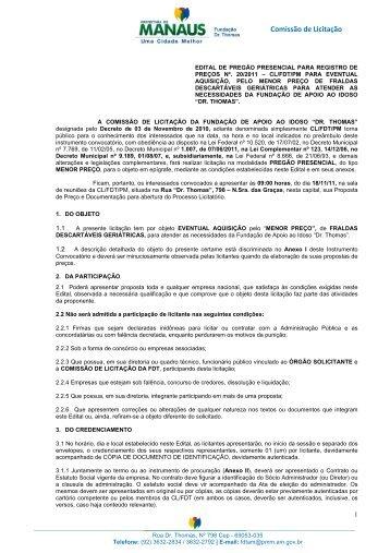 Edital Pregão nº 00-2011 FRALDAS DESCARTAVEIS
