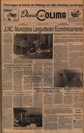 JLNC: Municipios Languidecen Económicamente - Universidad de ...