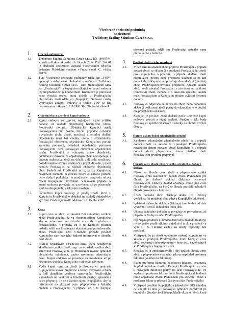 Smluvní strany: - Trelleborg Sealing Solutions