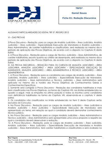 TRF5º Daniel Souza Ficha 01: Redação ... - Espaço Jurídico