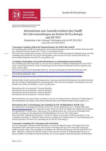 Anmeldeverfahren - Technische Universität Braunschweig
