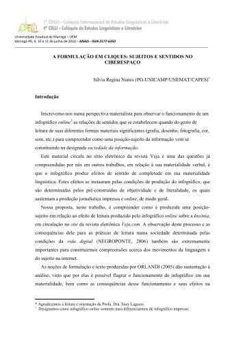 A FORMULAÇÃO EM CLIQUES: SUJEITOS E SENTIDOS NO ... - Cielli