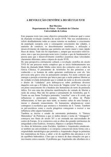 A Revolução Científica do Século XVII - Centro de Filosofia das ...