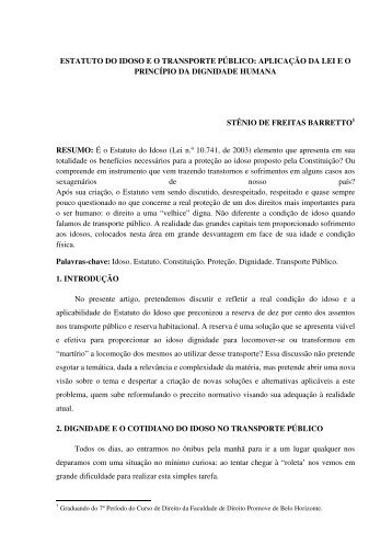estatuto do idoso eo transporte público - Faculdades Promove
