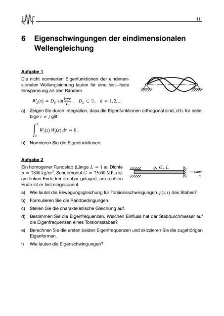 6 Eigenschwingungen der eindimensionalen Wellengleichung
