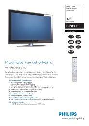 42PFL7862D/10 Philips Flat-TV mit PIXEL PLUS 2 HD