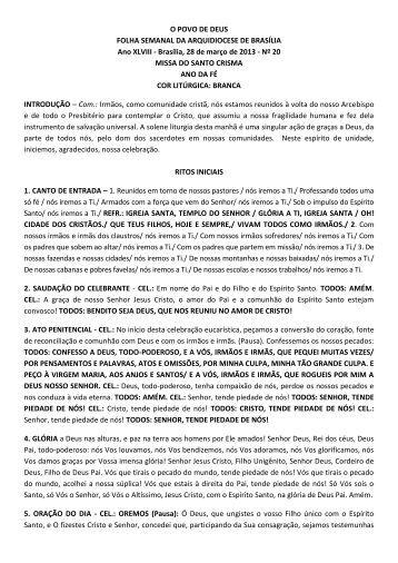 Missa do Santo Crisma - Arquidiocese de Brasília