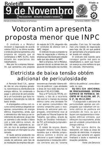 Boletim 719 - Sindicato dos Metalúrgicos da Região Sul Fluminense