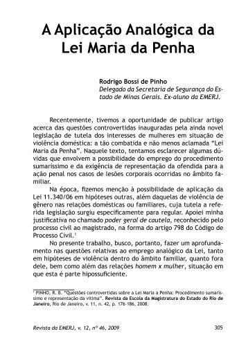 A Aplicação Analógica da Lei Maria da Penha - Emerj